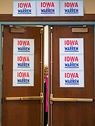 16 NOVEMBER 2019 - WAVERLY, IOWA: US Senator ELIZABETH WARREN (D-MA) peers through the doors of the student center at Wartburg College before her campaign appearance at the college. Sen. Warren campaigned at Wartburg College in Waverly Saturday afternoon. She is running to be the Democratic candidate for the US Presidency in the 2020 election. Iowa hosts the first selection event of the presidential election season. The Iowa caucuses are February 3, 2020.           PHOTO BY JACK KURTZ
