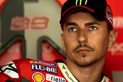 September 22, 2018 - Alcaniz, Teruel, Spain - Jorge Lorenzo (99) of Spain and Ducati Team during qualifying for the Gran Premio Movistar de Aragon of world championship of MotoGP at Motorland Aragon Circuit on September 22, 2018 in Alcaniz, Spain. (Credit Image: © Jose Breton/NurPhoto/ZUMA Press)