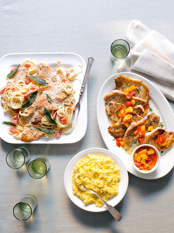 Turkey Cutlets with Sage and Spaghettini; Pork Grillades with Peaches and Late Summer Grits; Peach Pepper Jelly Salsa