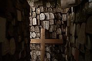 Agnone, Molise - General view of a room completely covered with models of decorations used on bells at the Marinelli Pontificial Foundry in Agnone. Every single model is handmade.<br /> <br /> Ad Agnone, la tradizione di forgiare e fondere i metalli rislae a 2500 anni fa, al Medioevo. La fonderia Marinelli, con oltre otto secoli di attivit&agrave;, &egrave; l&rsquo;officina in cui vengno prodotte camoane pi&ugrave; antica del mondo. Ad oggi i Marinelli continuano questa secolare tradizione forgiando campane dai bellissimi rilievi artistici e dalla perfetta sonorit&agrave;. Nel 1924, Papa Pio XI, concesse alla famiglia Marinelli di effiggiarsi dello stemma Pontificio.<br /> Ph. Roberto Salomone