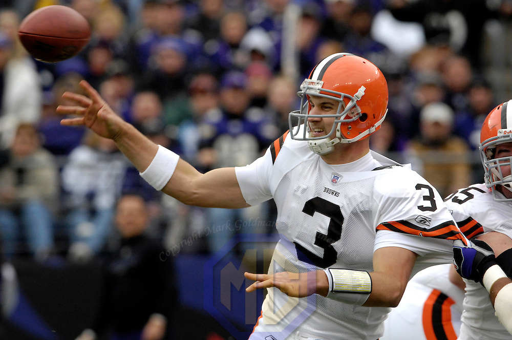 18 November 2007:  Cleveland Browns quarterback Derek Anderson (3) completes a pass in the 1st quarter under pressure from the Baltimore Ravens on November 18, 2007 at M&T Bank Stadium in Baltimore, Maryland. Anderson threw for 274 yards as the Ravens were sent to their 4th consecutive loss with a 33-30 overtime time win by the Browns..