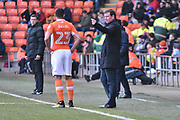 Blackpool Manager, Gary Bowyer  during the EFL Sky Bet League 1 match between Blackpool and Bristol Rovers at Bloomfield Road, Blackpool, England on 13 January 2018. Photo by Mark Pollitt.
