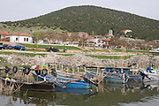 Greece, Macedonia, Prespa lakes, Psarades village view of the harbour and village from the lake