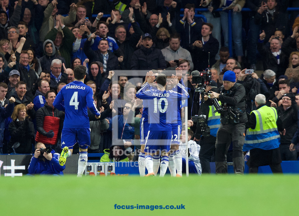 Willian of Chelsea (right) celebrates after scoring to make it 2-1 with Eden Hazard during the FA Cup match at Stamford Bridge, London<br /> Picture by Alan Stanford/Focus Images Ltd +44 7915 056117<br /> 21/02/2016