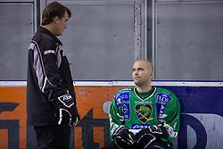 Coach Mike Posma and Kevin Mitchell of HDD Tilia Olimpija before new season 2008/2009,  on September 17, 2008 in Arena Tivoli, Ljubljana, Slovenia. (Photo by Vid Ponikvar / Sportal Images)