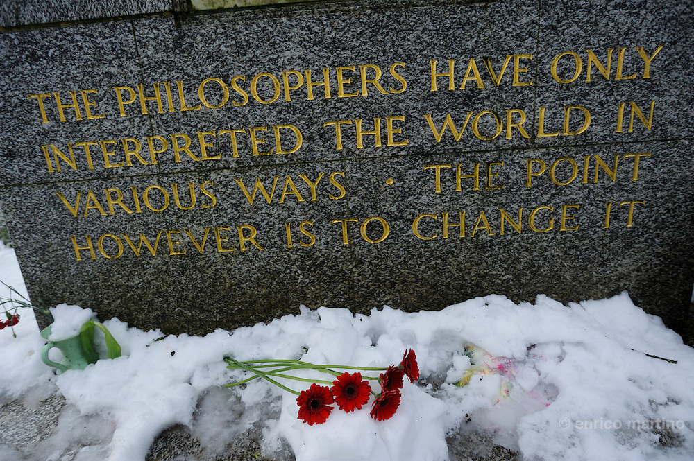 Highgate cemetery, the tomb of German philosopher Karl Marx.
