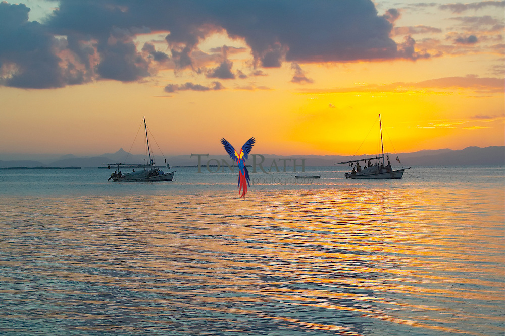 Belizean fishing boats at sunset with Victoria Peak, Maya Mountains, from South Water Caye, Belize