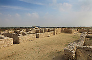 Saar Settlement, 3rd millennium BC, early Dilmun period, an archaeological site consisting of a residential quarter with courtyard houses, a temple and a burial field, at Saar, Bahrain. The settlement was populated for around 250 years at a time of trade with Babylon and the Indus Valley, and forms part of the Saar Heritage Park. Picture by Manuel Cohen