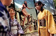 Women in kimono on Omotesanto Dori (Avenue). Young people learn again how to wear kimono and enjoy meeting with friends in kimono gatherings.