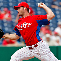 February 29, 2012; Clearwater, FL, USA; Philadelphia Phillies starting pitcher Joe Savery (55) during a spring training exhibition game against Florida State University at Bright House Networks Field. The Phillies defeated Florida State 6-1. Mandatory Credit: Derick E. Hingle-US PRESSWIRE