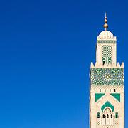 Grande Mosque Hassan II, minaret detail, in Casablanca, Morocco.