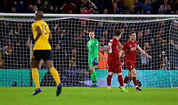 WOLVERHAMPTON, ENGLAND - Monday, January 7, 2019: Liverpool's goalkeeper Simon Mignolet looks dejected as Wolverhampton Wanderers score the second goal during the FA Cup 3rd Round match between Wolverhampton Wanderers FC and Liverpool FC at Molineux Stadium. (Pic by David Rawcliffe/Propaganda)