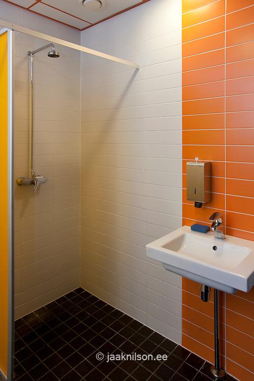 tiled workplace bathroom