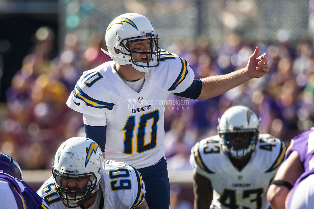 Sep 27, 2015; Minneapolis, MN, USA; San Diego Chargers quarterback Kellen Clemens (10) calls a play during the fourth quarter against the Minnesota Vikings at TCF Bank Stadium. The Vikings defeated the Chargers 31-14. Mandatory Credit: Brace Hemmelgarn-USA TODAY Sports