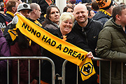 Wolverhampton Wanderers fans wait for the team coach during the EFL Sky Bet Championship match between Wolverhampton Wanderers and Sheffield Wednesday at Molineux, Wolverhampton, England on 29 April 2018. Picture by Alan Franklin.