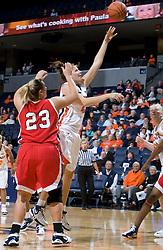 Virginia forward Kelly Hartig (42) shoots over Richmond forward Katie Holzer (23).  The Virginia Cavaliers women's basketball team faced the Richmond Spiders at the John Paul Jones Arena in Charlottesville, VA on November 18, 2007.