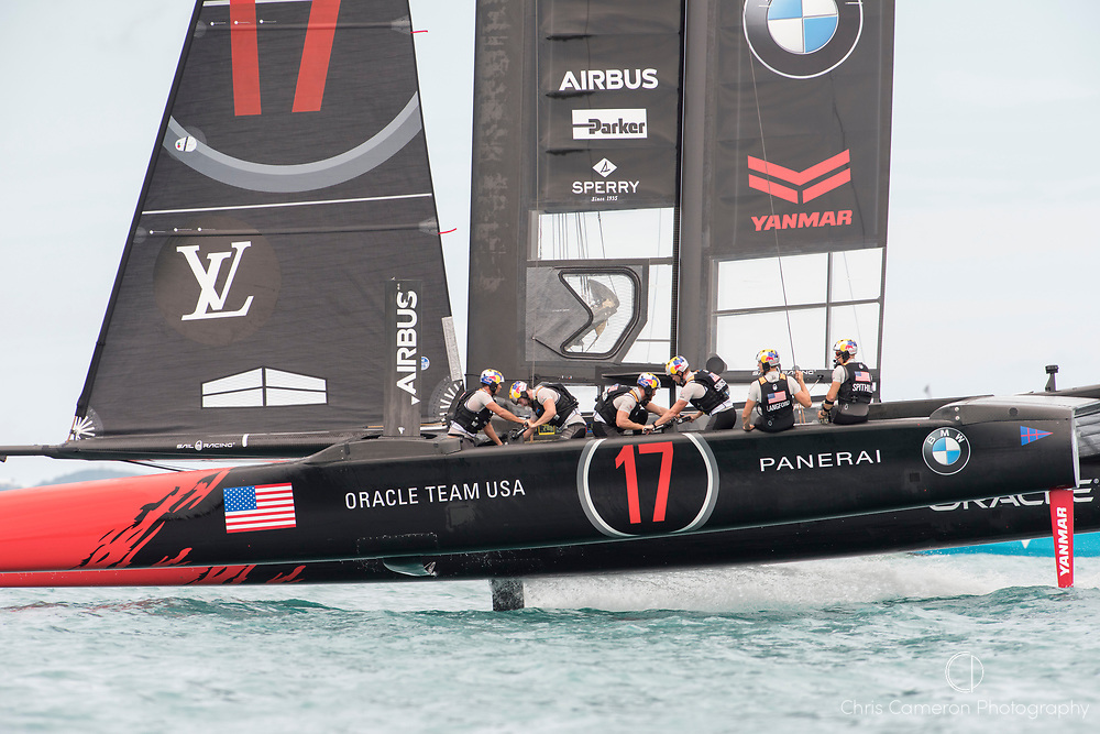 The Great Sound, Bermuda, 24th June 2017, Oracle Team USA finish race five well behind Emirates Team New Zealand. Day three of racing in the America's Cup presented by louis Vuitton.