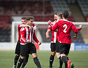Steve Martin (second left) celebrates after opening the scoring - Dundee Argyle v Dykehead AFC in the Scottish Sunday Trophy semi final at Excelsior Stadium, Airdrie, Photo: David Young<br /> <br />  - &copy; David Young - www.davidyoungphoto.co.uk - email: davidyoungphoto@gmail.com