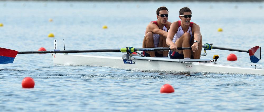 Trackai. LITHUANIA. USA BM2-. Bow Dariush AGHAI and Austin HACK,  2012 FISA U23 Rowing Championships, Lake Galve.   10:19:10 Thursday 12/07/2012 [Mandatory credit: Peter Spurrier/Intersport Images]..Rowing, U23, 2012.