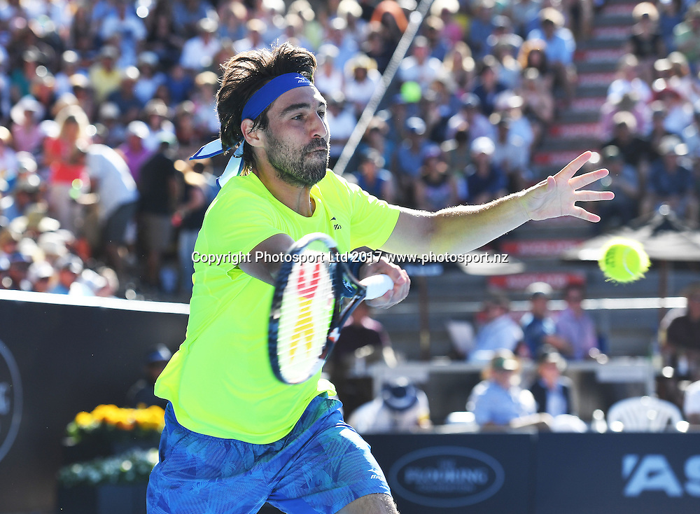 Marcos Baghdatis of Cyprus during his semi final singles match at the ASB Classic. ATP Mens Tennis Tournament. ASB Tennis Centre, Auckland, New Zealand. Friday 13 January 2017. © Copyright photo: Andrew Cornaga / www.photosport.nz