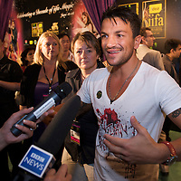 MACAU, CHINA - JUNE 11:  Singer Peter Andre speaks with the media at the green carpet during the 2009 International Indian Film Academy Awards at the Venetian Macao-Hotel-Resort on June 11, 2009 in Macau.  Photo by Victor Fraile / studioEAST