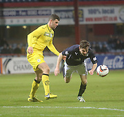 Nicky Riley takes a tumble - Dundee  v Queen of the South - SPFL Championship at Dens Park<br /> <br />  - &copy; David Young - www.davidyoungphoto.co.uk - email: davidyoungphoto@gmail.com