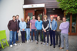 LIVERPOOL, ENGLAND - Thursday, June 18, 2015: Players visit Amalia Italian Restaurant during Day 1 of the Liverpool Hope University International Tennis Tournament. Anders Borg, Barry Cowan, Elena Bogdan, Damir Dzumhur, Aljaz Bedene, Andrey Rublev, Peter McNamara. (Pic by David Rawcliffe/Propaganda)