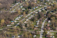 Montgomery, New York - An aerial view of  a suburban neightborhood on April 20, 2016.