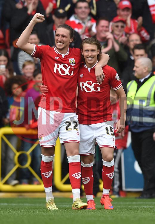 Bristol City's Luke Ayling and Luke Freeman - Photo mandatory by-line: Paul Knight/JMP - Mobile: 07966 386802 - 03/05/2015 - SPORT - Football - Bristol - Ashton Gate Stadium - Bristol City v Walsall - Sky Bet League One