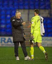 BIRKENHEAD, ENGLAND - Tuesday, March 6, 2012: Tranmere Rovers' new manager Ronnie Moore with goalkeeper Owain Fon Williams after the 1-1 draw with Notts County the Football League One match at Prenton Park. (Pic by David Rawcliffe/Propaganda)