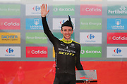 Simon Yates (GBR, Mitchelton Scott), celebrating his stage victory, podium during the 73th Edition of the 2018 Tour of Spain, Vuelta Espana 2018, Stage 14 cycling race, Cistierna - Les Praeres Nava 171 km on September 8, 2018 in Spain - Photo Angel Gomez/ BettiniPhoto / ProSportsImages / DPPI