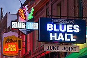 Sign for Blues Hall Juke Joint venue in legendary Beale Street entertainment district famous for Rock and Roll and Blues