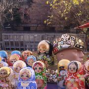 Handmade Russian dolls at Aleksander Nevski church market, Sofia, Bulgaria, Europe