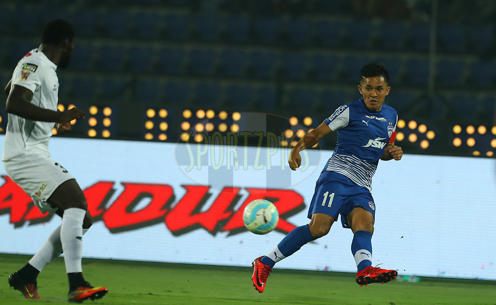 Sunil Chhetri of Bengaluru FC during match 19 of the Hero Indian Super League between NorthEast United FC and Bengaluru FC held at the Indira Gandhi Athletic Stadium, Guwahati India on the 8th December 2017<br /> <br /> Photo by: Ron Gaunt / ISL / SPORTZPICS