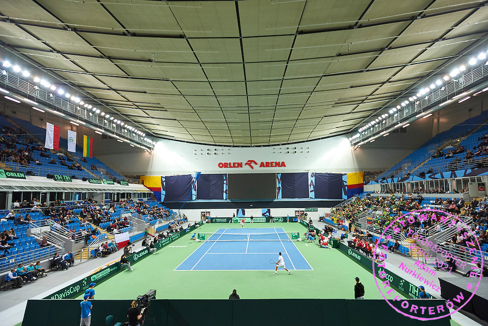General view during first day the Davies Cup / Group I Europe / Africa 1st round tennis match between Poland and Lithuania at Orlen Arena on March 6, 2015 in Plock, Poland<br /> Poland, Plock, March 6, 2015<br /> <br /> Picture also available in RAW (NEF) or TIFF format on special request.<br /> <br /> For editorial use only. Any commercial or promotional use requires permission.<br /> <br /> Mandatory credit:<br /> Photo by &copy; Adam Nurkiewicz / Mediasport