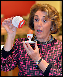 Edwina Currie poses with eggs during a photocall in central London,re-launching the British Lion food safety Code for Eggs. The re-launch is days ahead of the 25th Anniversary of her warnings about salmonella in eggs, which caused the salmonella crisis of the late 1980s. Friday, 29th November 2013. Picture by Andrew Parsons / i-Images