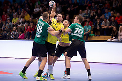 Bjarte Hakon Myrhol of Skjern Handbold and Gregor Potocnik of RK Gorenje Velenje during handball match between RK Gorenje Velenje and Skjern Handbold in Group Phase C+D of VELUX EHF Champions League, on 1st October, 2017 in Rdeca dvorana, Velenje, Slovenia. Photo by Urban Urbanc / Sportida