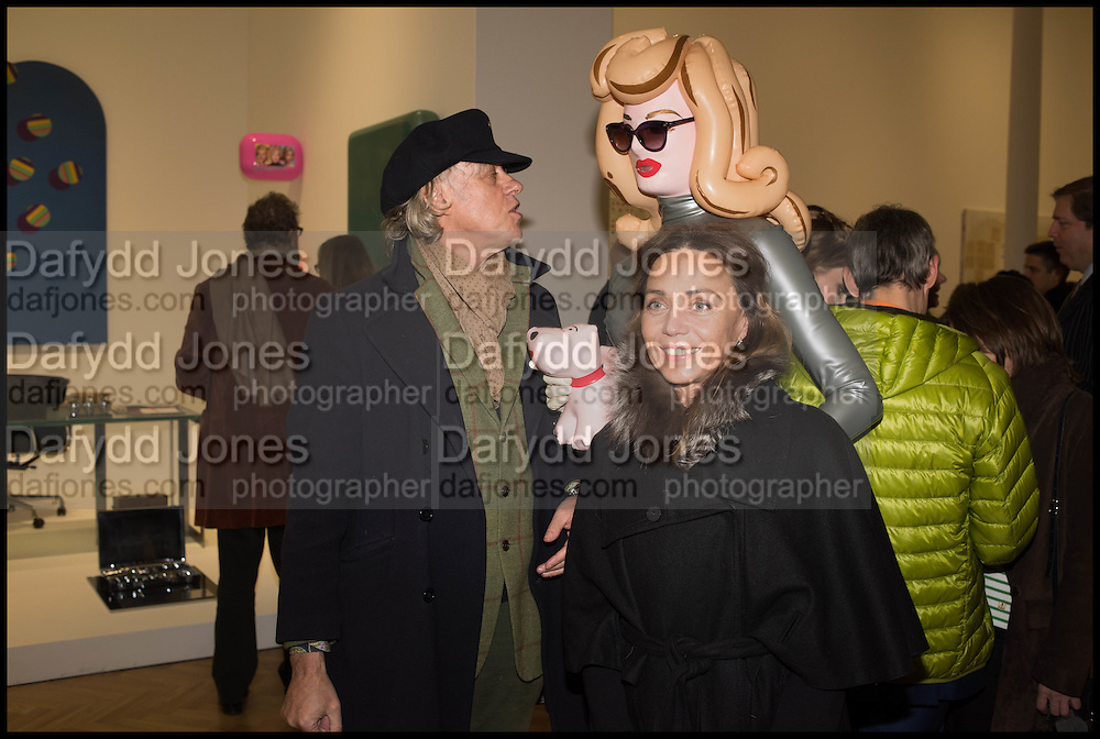 BOB GELDOF, PANDEMONIA, JEANNE MARINEat the Private view for A Strong Sweet Smell of Incense<br /> A Portrait of Robert Fraser, Curated by Brian Clarke. Pace Gallery. 6 Burlington Gardens. London. 5 February 2015.