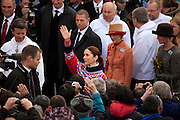 Danish Crown Princess Mary, outside Cathedral Annaassisitta Oqaluffia, Nuukon National Day, celebrating Self Governance, Nuuk, Greenland. From June 21 2009, Greenland moves from being under 'home rule' to 'self-governance' in a ceremony attended by the Danish Royal family and other heads of state.