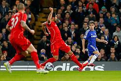 Oscar of Chelsea nutmegs Emre Can of Liverpool - Photo mandatory by-line: Rogan Thomson/JMP - 07966 386802 - 27/01/2015 - SPORT - FOOTBALL - London, England - Stamford Bridge - Chelsea v Liverpool - Capital One Cup Semi-Final Second Leg.