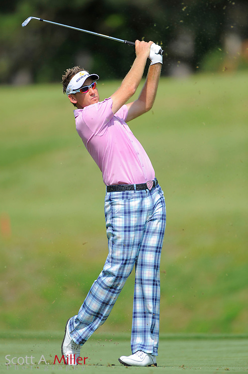 Ian Poulter hits his second shot on the seventh hole during the first round of the Players Championship at TPC Sawgrass on May 7, 2009 in Ponte Vedra Beach, Florida.     ©2009 Scott A. Miller