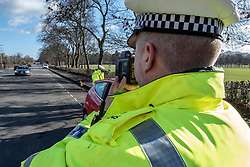 Pictured; PC Chris Beddows in action<br /> Speeding drivers will be stopped by police officers and offered a short education session in a police command unit. Drivers will then be shown a short video featuring Edinburgh schoolchildren who asked the council to help them reduce speeds around their school.