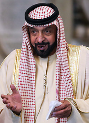 The President of the United Arab Emirates, Sheikh Khalifa bin Zayed Al Nahyan visits Westminster Abbey in London,  on the second day of his state visit to the UK, Wednesday 1st May 2013.  Photo by: Stephen Lock / i-Images