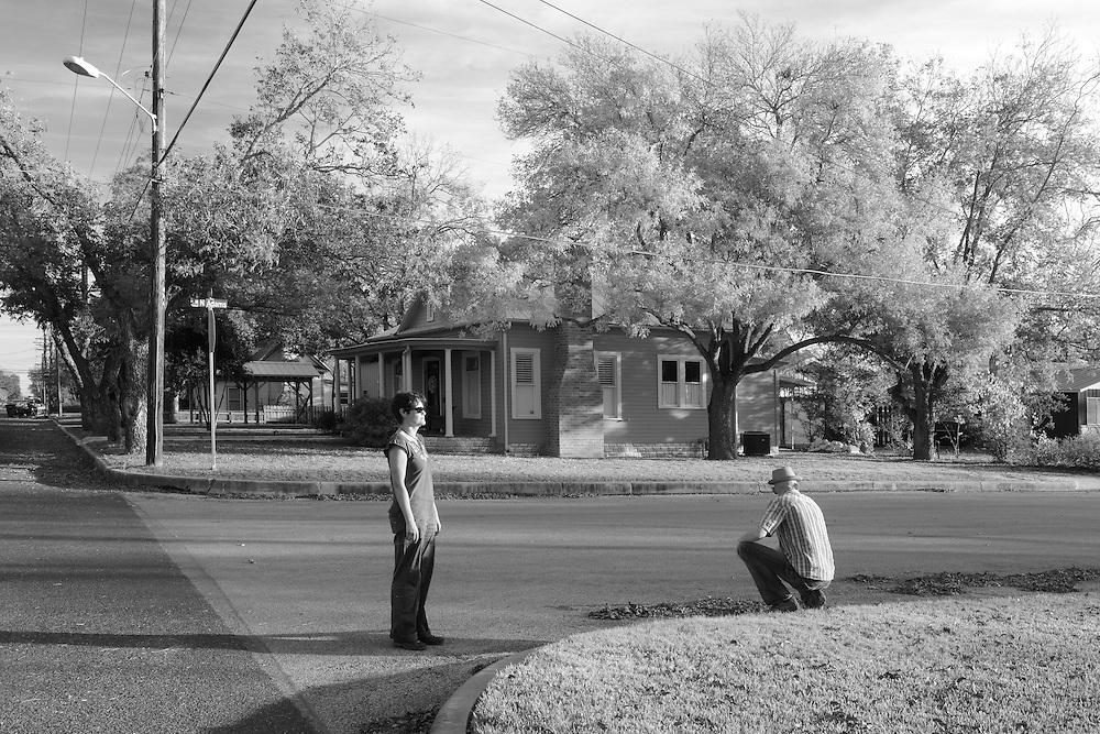 Small town neighborhood with foliage,Fredericksburg,Hill Country,Texas,USA