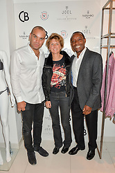 Left to right, ALEXANDER STUART ceo of Collier Bristow,SOPHIE MACULLUM and CHRISTOPHER STUART at the launch for the collaboration of Joel Swimwear for Collier Bristow held at Collier Bristow, 61 King's Road, Chelsea, London on 11th August 2016.