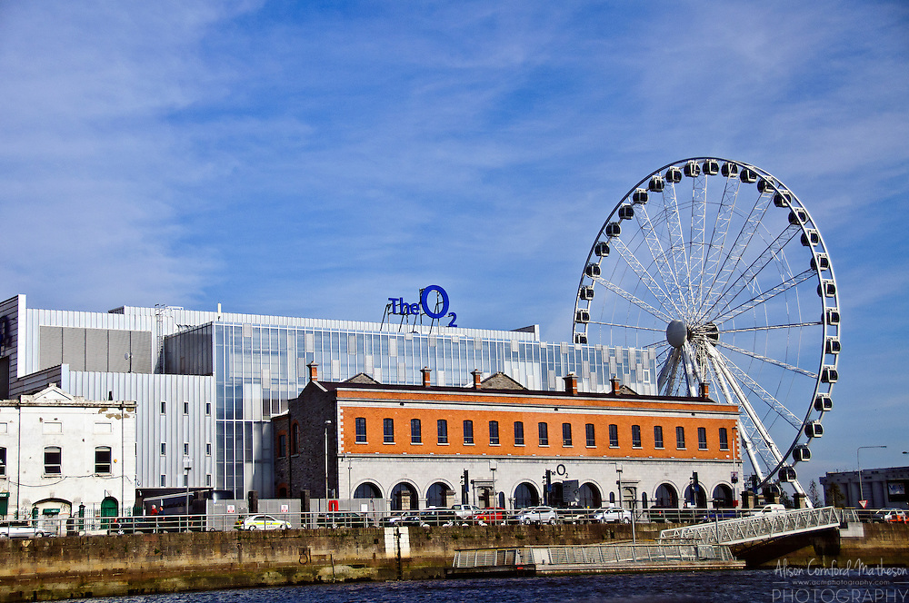 The O2 amphitheater and the Wheel of Dublin make their home on North Wall Quay in Dublin, Ireland.