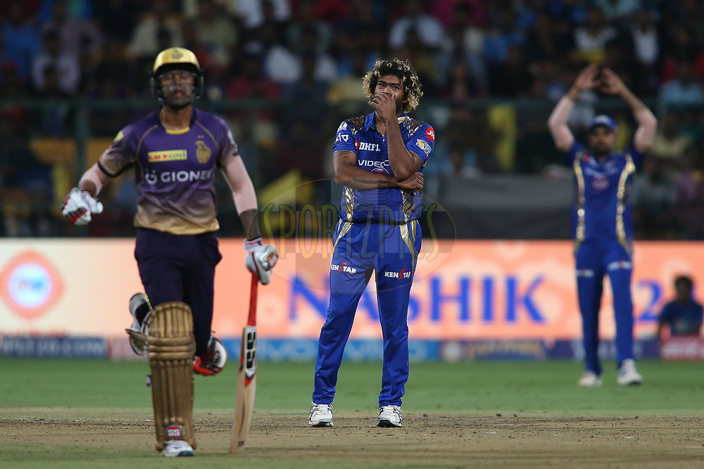 Lasith Malinga of the Mumbai Indians reacts after a close call during the 2nd qualifier match of the Vivo 2017 Indian Premier League between the Mumbai Indians and the Kolkata Knight Riders held at the M.Chinnaswamy Stadium in Bangalore, India on the 19th May 2017<br /> <br /> Photo by Shaun Roy - Sportzpics - IPL