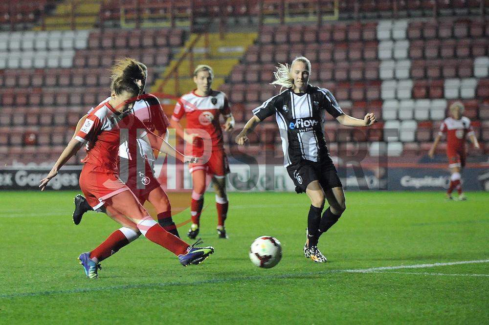 Bristol Academy Womens' Angharad James scores a goal. - Photo mandatory by-line: Dougie Allward/JMP - Mobile: 07966 386802 - 16/10/2014 - SPORT - Football - Bristol - Ashton Gate - Bristol Academy v Raheny United - Women's Champions League