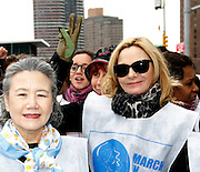 Ban Soon-taek and Kim Cattrall attend the March To End Violence Against Women at the United Nations Headquarters in New York City, New York on March 07, 2014.