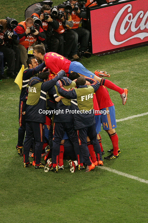 Spain celebrate the only goal during the FIFA World Cup 2010 last 16 match between Spain and Portugal held at The Cape Town Stadium in Green Point, Cape Town, South Africa on the 29th June 2010<br /> <br /> <br /> Photo by Ron Gaunt/SPORTZPICS